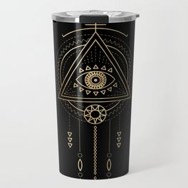 Mandala Tribal Eye Copper Bronze Gold Travel Mug