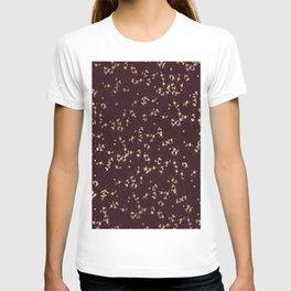 Modern elegant burgundy faux gold confetti T-shirt