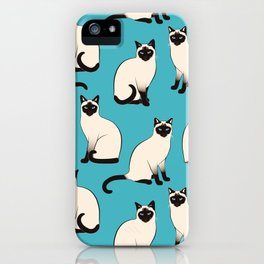 Siamese Cats sparse on turquoise iPhone Case