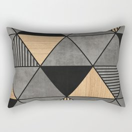 Concrete and Wood Triangles 2 Rectangular Pillow