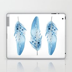 Blue Feathers Watercolor. Aztec Tribal Art. Feather print. Blue Wall Art. Bohemian style. Laptop & iPad Skin