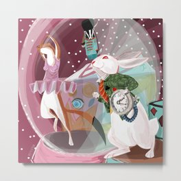 Dancing the ballerina stoat and the white rabbit Metal Print