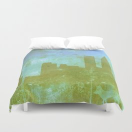 The Hawk and The Fox, town, fox, hawk, blue, white, butterfly Duvet Cover