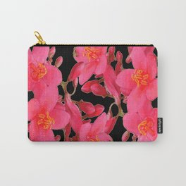 PINK FLOWER BLOSSOMS  BLACK SPRING ART Carry-All Pouch