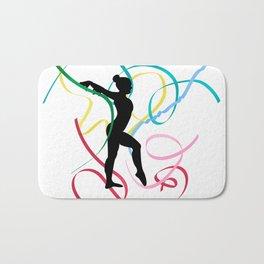 Ribbon dancer on white Bath Mat