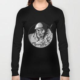 World War Two Soldier American Calling Radio Circle Etching Long Sleeve T-shirt