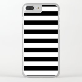 Midnight Black and White Stripes Clear iPhone Case