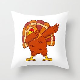 Swag Dope Dab Dabbing Turkey Happy Turkey Day Thanksgiving Save A Turkey Awareness T-shirt Design Throw Pillow
