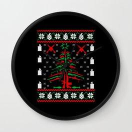 Christmas Tree 2nd Amendment Ugly Sweater Wall Clock