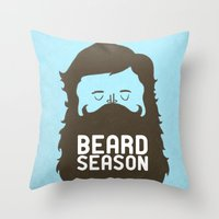 hair Throw Pillows featuring Beard Season by Chase Kunz