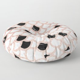 Girly rose gold black white marble mermaid scallop pattern Floor Pillow