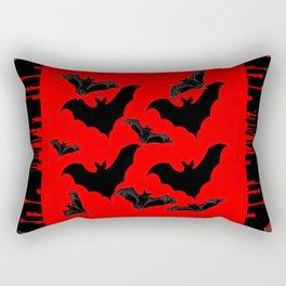 RED HALLOWEEN BATS ON BLEEDING RED ART DESIGN Rectangular Pillow
