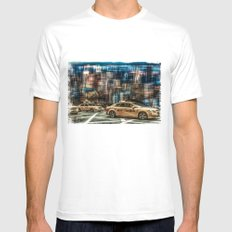 NYC - Yellow Cabs MEDIUM White Mens Fitted Tee
