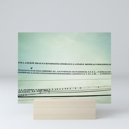 Mint Bird on Wire Art, Teal Birds on Wires Photography, Turquoise Nature Art, Pastel Nursery Photo Mini Art Print