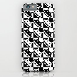 Black and white invaders pattern iPhone Case