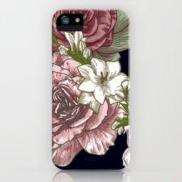 Large Vintage Floral Print on Black iPhone Case