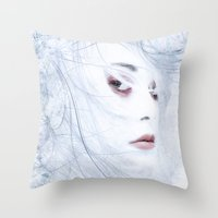 ice Throw Pillows featuring Ice by Purple Cactus