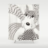 schnauzer Shower Curtains featuring Schnauzer by Noreen Loke