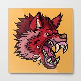 Crimson Wolf Metal Print