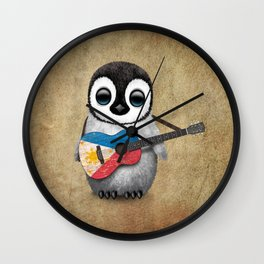 Baby Penguin Playing Filipino Flag Acoustic Guitar Wall Clock