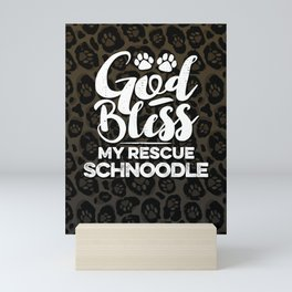 God Bless My Rescue Schnoodle Leopard Print Dog Paw Pattern Gift Mini Art Print