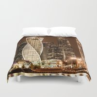 moscow Duvet Covers featuring Moscow city by Vlad&Lyubov