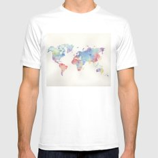 Watercolour world map Mens Fitted Tee MEDIUM White
