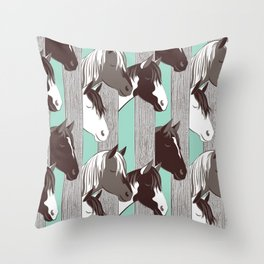Waiting for the horse race // mint background Throw Pillow