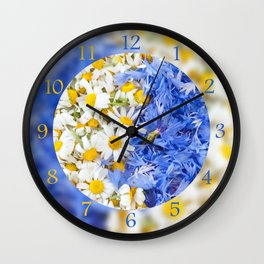 Blue cornflower and white chamomile Wall Clock