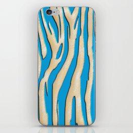 Bright Blue & White Zebra Print iPhone Skin