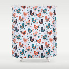 Scandinavian Birds Blue Red Shower Curtain