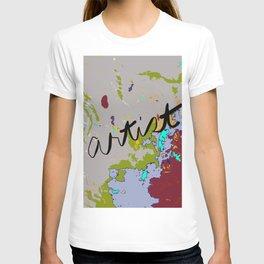 Artist Drop Cloth in dark red, gray, green, blue T-shirt