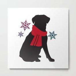 Black Dog Winter Metal Print