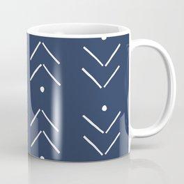 Arrow Lines Pattern in Navy Blue Coffee Mug
