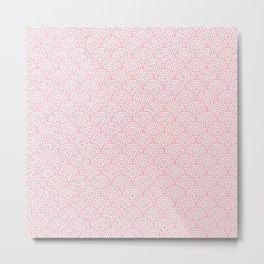 Coral Concentric Circle Pattern Metal Print