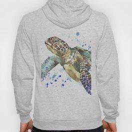 Abstract Watercolor Sea Turtle on White 2 Minimalist Coastal Art - Coast - Sea - Beach - Shore Hoody