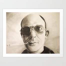 Hunter S. Thompson Portrait in Charcoal Art Print