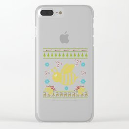 Bee Bee Keeper Christmas Ugly Shirt Sweater Ugly Design Clear iPhone Case