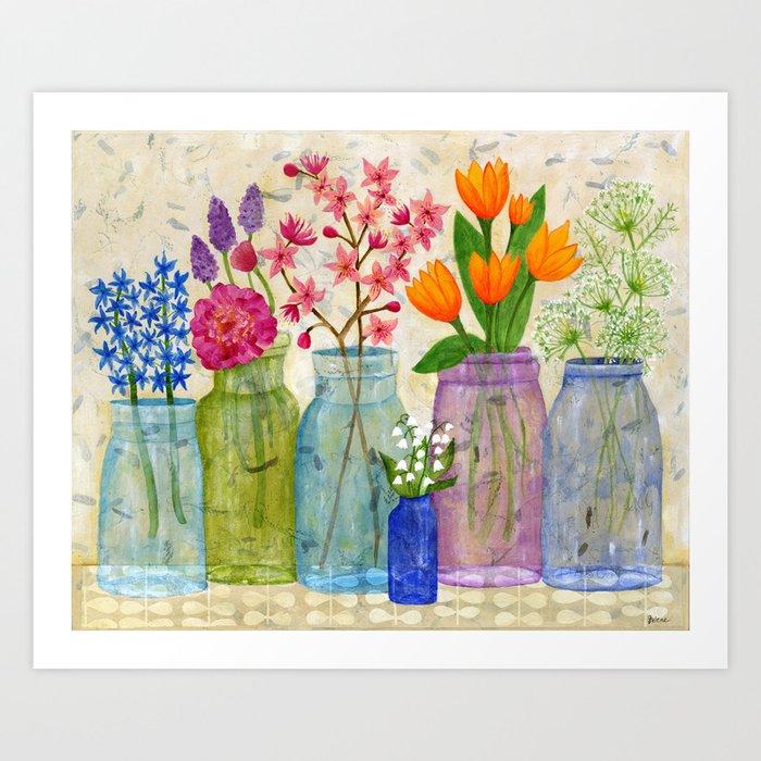 Springs flowers in old jars art print by juleneewert society6 mightylinksfo