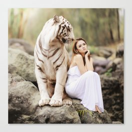 White Tiger from Bengal | Tigre blanc du Bengale Canvas Print