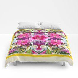 PINK & WHITE LILY GARDEN  YELLOW ABSTRACT Comforters