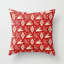 Mid Century Modern Boomerang Abstract Pattern Red and Tan 261 Throw Pillow
