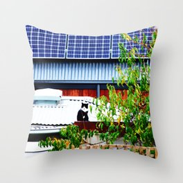 Cat on a Hot Solar Roof Throw Pillow