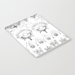 the rhyme of repetitive elements - black and white drawing Notebook