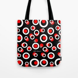 White Circles Red Dots on Black Tote Bag