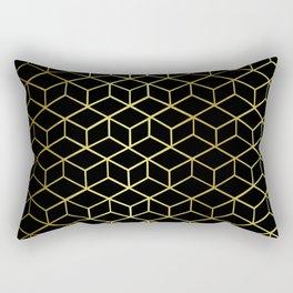 Golden Cubes Rectangular Pillow