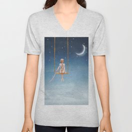 The lovely girl shakes on a swing Unisex V-Neck