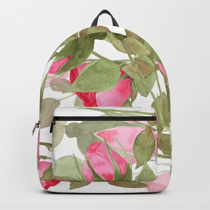 The buds of tender roses on a white background . Retro . Backpack