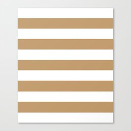 Wood brown - solid color - white stripes pattern Canvas Print