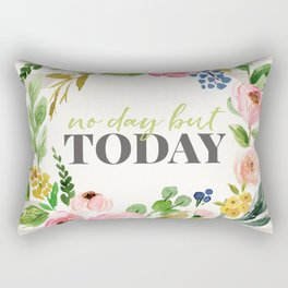 No Day But Today Stripey Watercolor Floral Rectangular Pillow